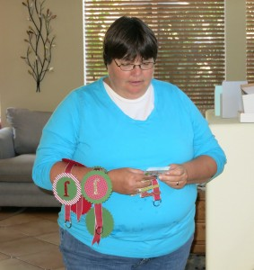 Ruth with more Christmas Triva prizes1 - Copy